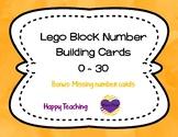 Lego Number Cards 0-30 ** Bonus Lego Missing Number Cards
