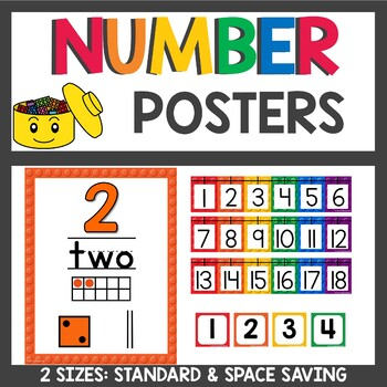 Building Brick Themed Number Posters