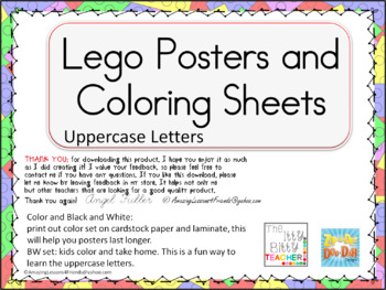 Lego Posters and Coloring Sheets Uppercase Letters
