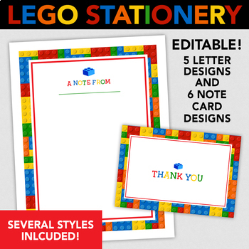 Lego Printable Stationery - 5 Letter Sized & 6 Note Cards Designs - Editable!