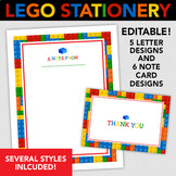 Lego Printable Stationery - 5 Letter Sized & 6 Note Cards