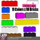 Lego Style Building Blocks, 18 Bricks, 11 Colors - Color & Black & White Clipart