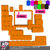 Lego Style Building Blocks, 18 Bricks, 11 Colors - Color &