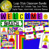 Lego Style Classroom Set - Welcome Banner, Calendar, Editable Tags, Word Wall