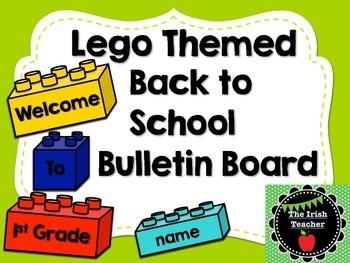 Back to School Bulletin Board EDITABLE Lego Themed