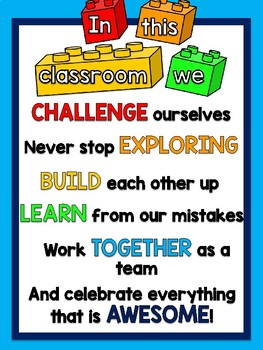 """FREEBIE Lego Themed """"In This Classroom"""" Motivational Poster"""