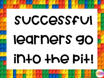 Lego Themed Learning Pit- printable display pack