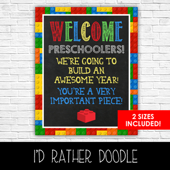 Lego Welcome Preschoolers Classroom Sign - 2 Sizes Included - Printable Sign