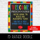 Lego Welcome Preschoolers Classroom Sign - 2 Sizes Include