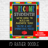 Lego Welcome Students Classroom Sign - 2 Sizes Included -