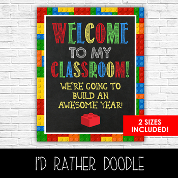 Lego Welcome to My Classroom - 2 Sizes Included - Printable Sign