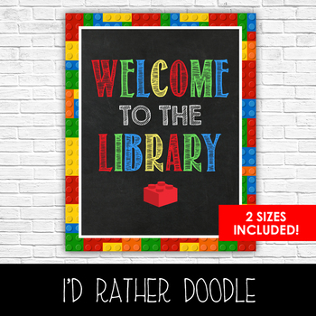 Lego Welcome to the Library Sign - 2 Sizes Included - Printable Sign