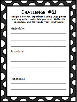 Building Blocks Writing Challenges for STEAM Centers (challenges and task cards)