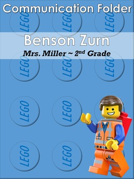 Lego themed Nicky Folder / Communication Folder Cover Sheet