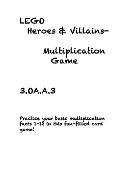 Lego vs. Villain Basic Multiplication Flash Card Game