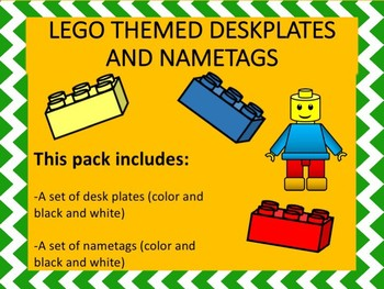 Legos Themed Desk Plates and Nametags