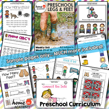 Legs & Feet Preschool Unit - Printables for Preschool, PreK, Homeschool PreK