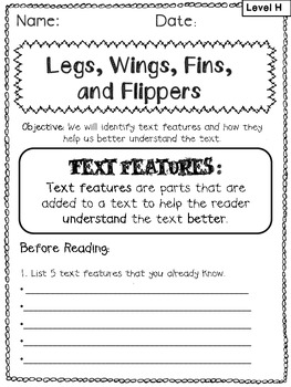 """""""Legs, Wings, Fins, and Flippers""""  Text Features Pack- Reading A-Z Companion"""