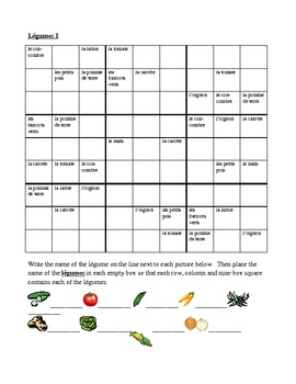 Légumes (Vegetables in French) Sudoku