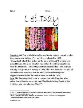 Lei Day - Hawaii holiday - May 1 history celebration facts lesson questions