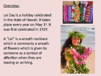 Lei Day - Hawaiian Hawaii holiday power point facts information pictures May 1st