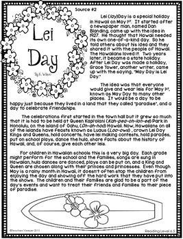 Lei Day Literacy Task