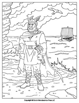 leif ericson coloring page by tim van de vall teachers pay teachers. Black Bedroom Furniture Sets. Home Design Ideas