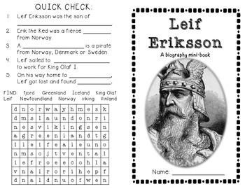 Leif Erikkson biography minibook