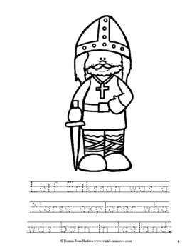 Leif Eriksson Coloring Book-Level B