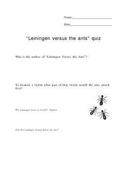 Leiningen Versus the Ants Quiz