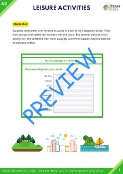Leisure Activities A2 Pre-Intermediate Lesson Plan For ESL
