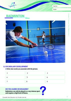 Leisure Activities and Sports - Badminton - Grade 7