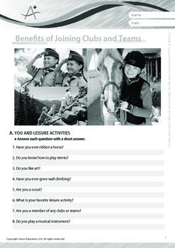 Leisure Activities and Sports - Benefits of Joining Clubs and Teams - Grade 8