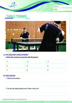 Leisure Activities and Sports - Table Tennis - Grade 7