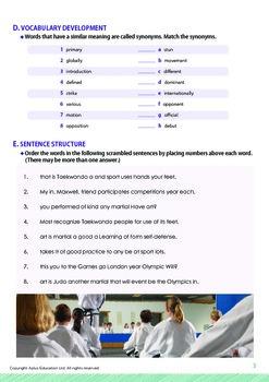 Leisure Activities and Sports - Taekwondo - Grade 7