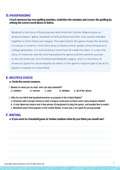 Leisure Activities and Sports - The Rules of Baseball - Grade 9