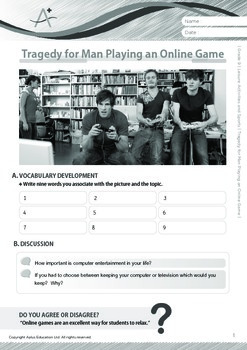 Leisure Activities and Sports - Tragedy for Man Playing an Online Game - Grade 9