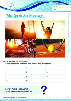 Leisure Activities and Sports - Why Sports Are Important - Grade 9