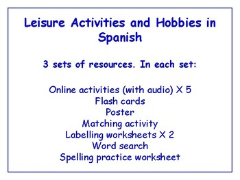 Leisure & Hobbies in Spanish Worksheets, Games & More (with audio) Bundle
