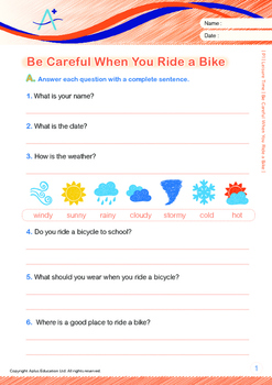 Leisure Time - Be Careful When You Ride a Bike - Grade 1