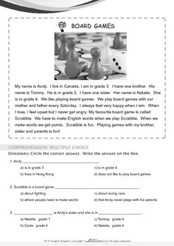 Leisure Time - Board Games - Grade 3