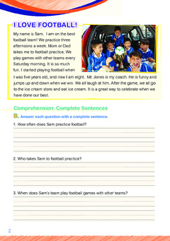 Leisure Time - I Love Football - Grade 1 (with 'Triple-Track Writing Lines')