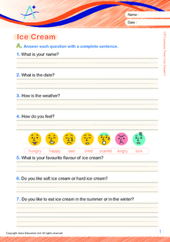Leisure Time - Ice Cream - Grade 1 (with 'Triple-Track Writing Lines')