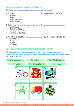 Leisure Time - Let's Go Shopping - Grade 1 (with 'Triple-Track Writing Lines')