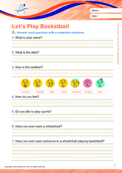 Leisure Time - Let's Play Basketball - Grade 1 ('Triple-Track Writing Lines')