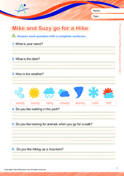 Leisure Time - Mike and Suzy go for a Hike - Grade 1 ('Triple-Track Lines')