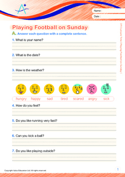 Leisure Time - Playing Football on Sunday - Grade 1 (with 'Triple-Track Lines')