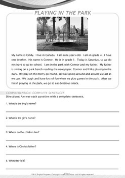 Leisure Time - Playing in the Park - Grade 4