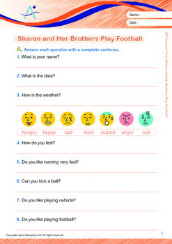 Leisure Time - Sharon and Her Brothers Play Football - Grade 1