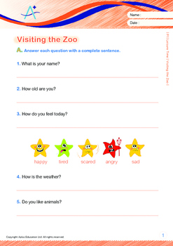 Leisure Time - Visiting the Zoo - Grade 1